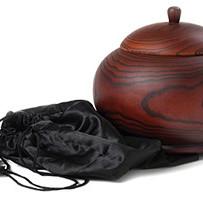 Wooden Urn & Silk Bag
